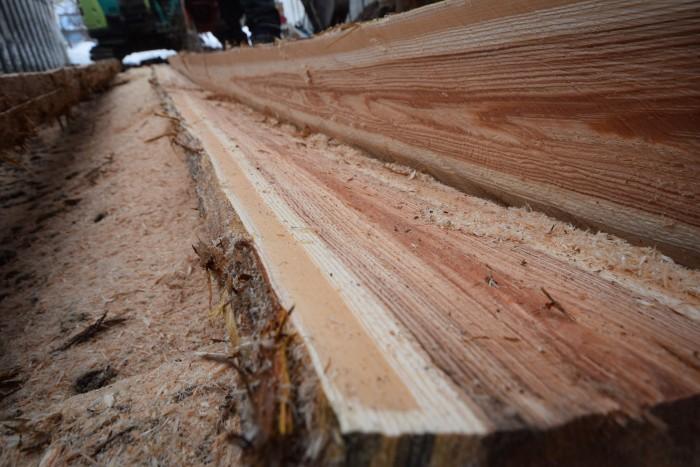 フリーハンドとは思えないキレイな断面。厚さも均等に製材されている。